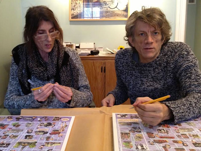 James Romberger and Marguerite Van Cook signs East Village Maps