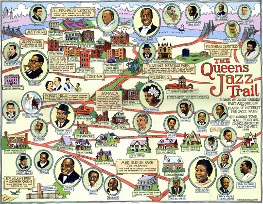 Queens Jazz Trail map by Ephemera Press