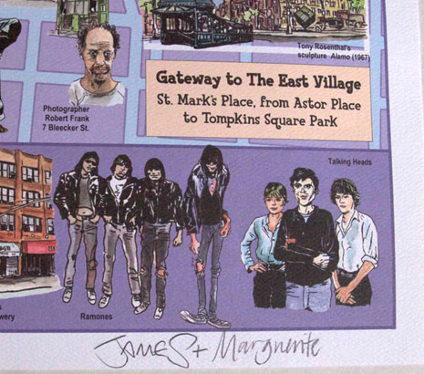 The East Village Map Signed by artists James Romberger and Marguerite Van Cook